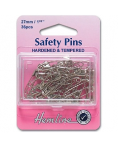 Silver safety pins 27mm