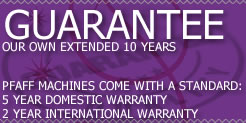 Upto 5 years warranty with PerformanceSewing.com